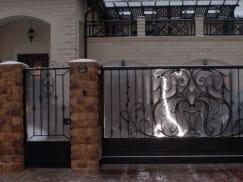 Кованые ворота, калитка, забор с поликарбонатом