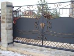 Ворота откатные и калитка кованые